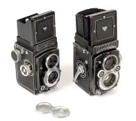 A Rolleiflex & a Rollicord TLR Camera. Comprising metered Rollefilex 3.5F #2853170 with Xenotar 75mm