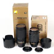 Two Nikkor 70-300mm AF Lenses. Comprising AF-S VR Zoom Nikkor 70-300mm f4-5.6 G IF-ed and a Nikkor