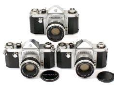 Group of Three Early Asahi Pentax Cameras. Comprising Tower 26 #150288, copy of Asahi Pentax S