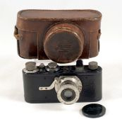 Black Leica I #42677 with Fixed 50mm Elmar f3.5 Lens. (some paint wear/loss to top, hence