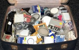 Large Suitcase of Lens Filters & Stepping Rings etc. Multiple sizes, makers and conditions. (On