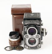 Metered Rollei 3.5F #2213815 TLR Camera. (condition 4/5F) with CZ Planar f3.5 lens. With chrome lens