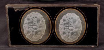 Oval Framed Stereo Daguerreotype of a Palissy Ware Style Dish. Probably by Louis Jules Duboscq-