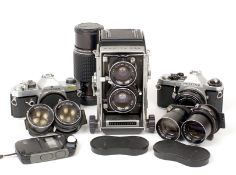 Mamiya C33 Professional TLR Outfit & Pentax 35mm Cameras. Comprising C33 body with 80mm f2.8 lens (