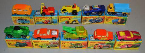 10 Matchbox Superfast diecast models including 15, 21 Rod Roller, 23 Volkswagen Camper, 29 Racing