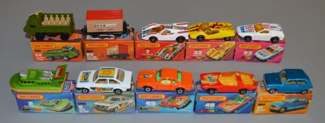 10 Matchbox Superfast diecast models including 2, 7 Hairy Hustler, 9 Ford RS2000, 21, 25, 33