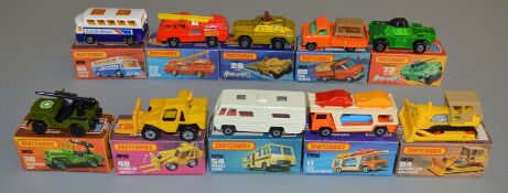 10 Matchbox Superfast diecast models including 11 Car Transporter, 22, 28 Stoat, 38 Armoured Jeep,