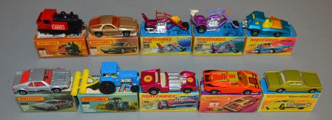 10 Matchbox Superfast diecast models including 19 Road Dragster, 27, 31 Lincoln Continental, 37,