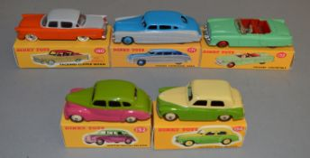 5 Dinky Toys including 132 Packard Convertible in green with slight damage to screen, 152 Austin