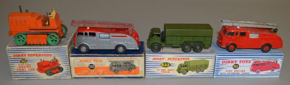 4 boxed Dinky Toys including 955 Heavy Tractor, 555 Fire Engine, 622 10 ton Army Truck and 955