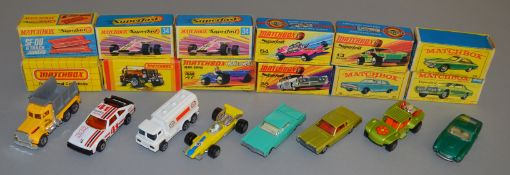 7 boxed Matchbox 1-75 Series models including two Regular Wheels and five from the Superfast range