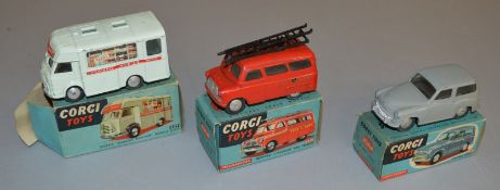 3 boxed Corgi Toys diecast models including 407 Smiths Karrier Mobile Shop, overall G in P/F box