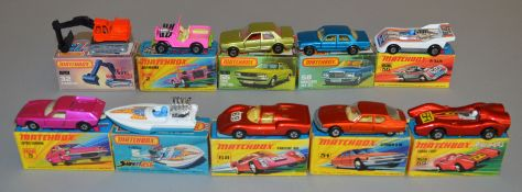 10 Matchbox Superfast diecast models including 2 Jeep Hot Rod, 5 Lotus Europa, 5 Seafire, 32, 51