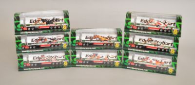 EX-SHOP STOCK:Eight boxed Diecast Eddie Stobart lorries by Oxford, part of the Stobart Rugby Super