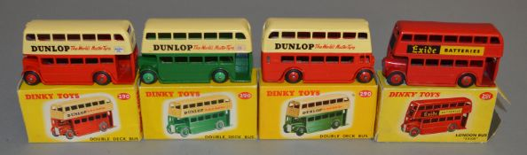 3 boxed Dinky Toys 290 Double Deck Bus models - 2 x Red/Cream and another Green/Cream, all with '