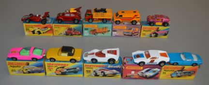 10 Matchbox Superfast diecast models including 6 Mercedes 350SL, 8, 11 Flying Bug, 14, 24, 30