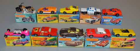 10 Matchbox Superfast diecast models including 1, 3, 10 Plymouth Police Car, 27, 50, 58, 59 Fire