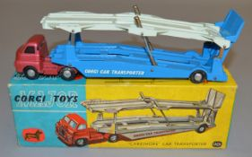 A boxed Corgi 1110 Bedford S Type Carrimore Car Transporter, scarce version with cerise cab and blue