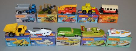 10 Matchbox Superfast diecast models including 2, 5, 13 Snorkel Fire Engine, 26, 29, 30 Artic Truck,