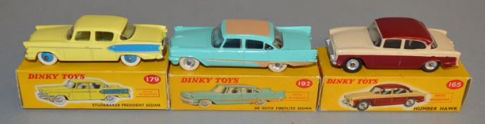 3 boxed Dinky Toys, 165 Humber Hawk, 179 Studebaker President and 192 DeSoto Fireflite, overall