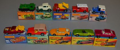 10 Matchbox Superfast diecast models including 5 U.S. Mail, 37 Skip Truck, 47, 52 Dodge Charger, 53,