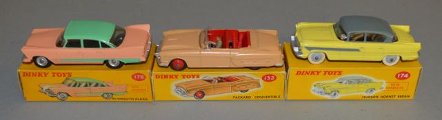 3 boxed Dinky Toys, 132 Packard Convertible, 174 Hudson Hornet and 178 Plymouth Plaza, overall