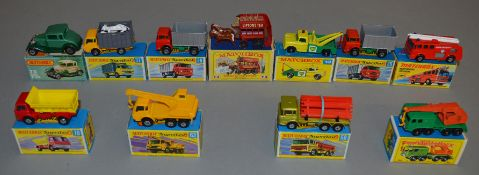 11 boxed Matchbox diecast models including two 1-75 Regular Wheel models - #13d and #30c and