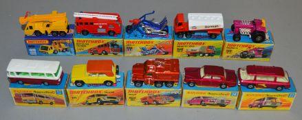 10 Matchbox Superfast diecast models including 12, 16 Badger, 18 Field Car, 22 Freeman Inter-City
