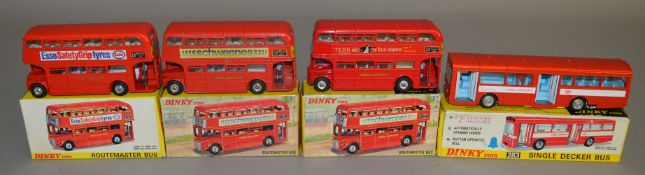 4 boxed Dinky Toys including three variants of the 289 Routemaster Bus - 'Tern Shirts', 'Esso Safety