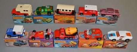 10 Matchbox Superfast diecast models including 4, 5, 8 De Tomaso Pantera, 14, 19, 36, 38 Camper, 44,