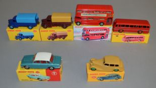 6 Dinky Toys including 135 Triumph 2000, 151 Triumph 1600, 282 Duple Roadmaster, 289 Routemaster