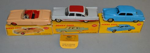 3 boxed Dinky Toys, 172 Studebaker Land Cruiser G/G+ in G+ box together with 132 Packard and 192