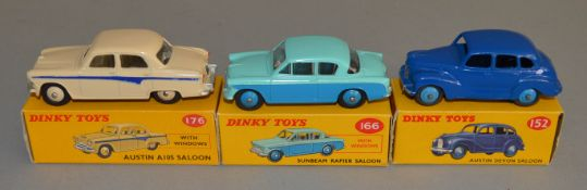 3 boxed Dinky Toys, 152 Austin Devon in blue, 166 Sunbeam Rapier and 176 Austin A105, overall models