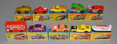 10 Matchbox Superfast diecast models including 8 Wild Cat Dragster, 17, 26 Big Banger, 28 Stoat,