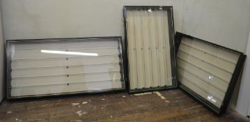 Three display cabinets with removeable glass fronts and shelves, one 50 x 104cm, the others being