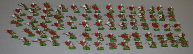 73 loose painted metal Roman Gladiator soldier figures, each approximately 3cm tall. (73)