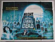 Night of the Living Dead original 1968 first release British Quad film poster for George Romero's