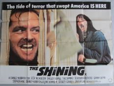 Four British Quad film posters to include The Shining X cert Stanley Kubrick directed from the novel