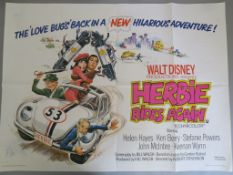 Collection of folded British Quad film posters with some Walt Disney films including Cinderella,