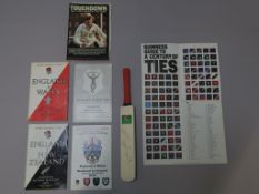 Cricket and Rugby lot including Mike Gatting small N Power signed cricket bat and rugby programmes