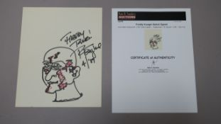 Freddy Krueger sketch signed 8.5 x 10.5 inch sketch signed ''Freddy Rules! R. Englund 4 / 89'' in