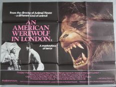 An American Werewolf in London original 1981 British Quad cinema poster from director John Landis