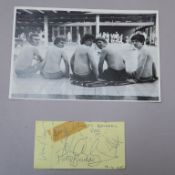Van Morrison and band ''Them'' signatures on yellow autograph card dated 19/6/1965 following the
