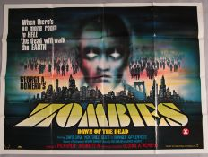 Zombies Dawn of the Dead original first release George Romero directed zombie horror British quad