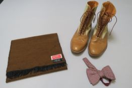 The Rolling Stones Charlie Watts Pale Tan Leather Lace-up boots, Bow Tie, Scarf,  circa 1960/70's