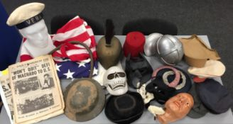 Ex-studio large collection of film prop helmets, hats, masks, belts, wigs, shoes, American flags,