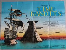 Time Bandits original 1980 British Quad film poster with full colour artwork by Terry Gilliam and