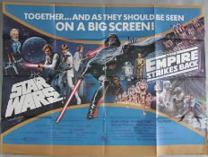 Star Wars / The Empire Strikes Back UK double-bill film poster picturing Darth Vader, Luke
