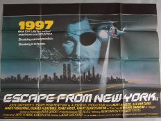 Escape from New York 1981 original British Quad film poster starring Kurt Russell as Snake, Lee