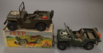 A boxed Minic Clockwork Jeep No.2, overall G with jerry can but missing key in F/G but complete